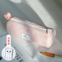 目意思三明治网布夹层简约小清新女生尼龙笔袋大容量文具盒铅笔袋
