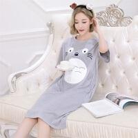 新款卡通龙猫短袖纯棉韩版清新学生可爱睡裙女夏中长款睡衣家居服 龙猫裙-灰色