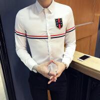 春节新款男士韩版修身徽章点缀长袖衬衫潮流青少年流行休闲衬衣