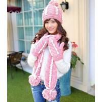 生日圣诞礼物毛线帽子围巾手套三件套装女一体围脖冬季天可爱韩版