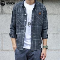 秋季新款潮牌日系口袋格子男长袖衬衫 时尚青少年韩版文艺衬衣潮