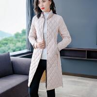 冬款轻薄羽绒服女修身显瘦中长款欧货薄时尚小个子潮 浅粉色
