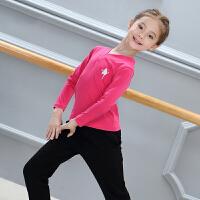 秋冬儿童舞蹈服装女童长袖加绒练功服少儿拉丁舞分体套装 运动套装