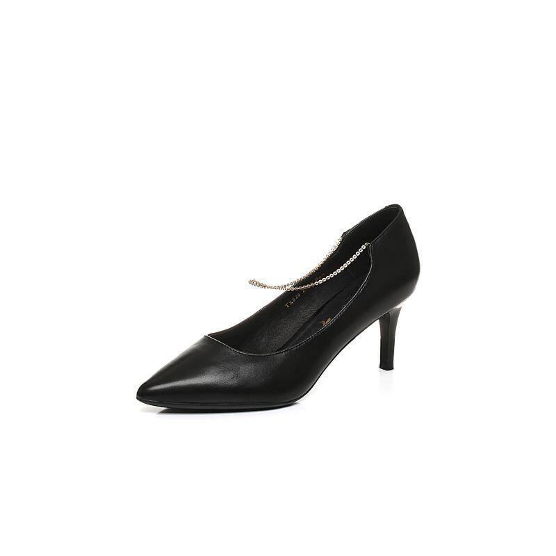 BASTO/百思图2017秋季专柜同款绵羊皮简约通勤浅口女皮鞋TX828CQ7