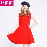 Lagogo冬季新款圆领无袖连衣裙女修身显瘦红色背心裙秋冬打底裙
