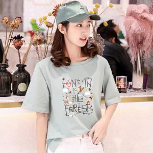 哆哆何伊短袖t恤女韩版衣服夏装2018新款打底体恤衫短袖上衣女