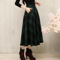 半身裙秋冬女复古中长裙羊毛呢格子长裙绿色A字裙显瘦大摆裙