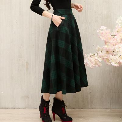 半身裙秋冬女复古中长裙羊毛呢格子长裙绿色A字裙显瘦大摆裙 一般在付款后3-90天左右发货,具体发货时间请以与客服协商的时间为准