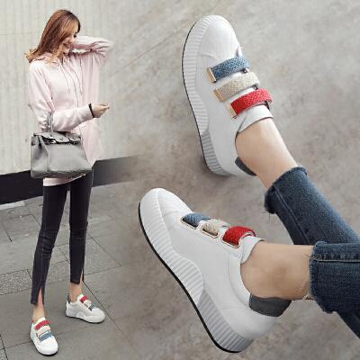 ZHR2018春季新款内增高小白鞋韩版休闲鞋平底运动鞋单鞋真皮女鞋