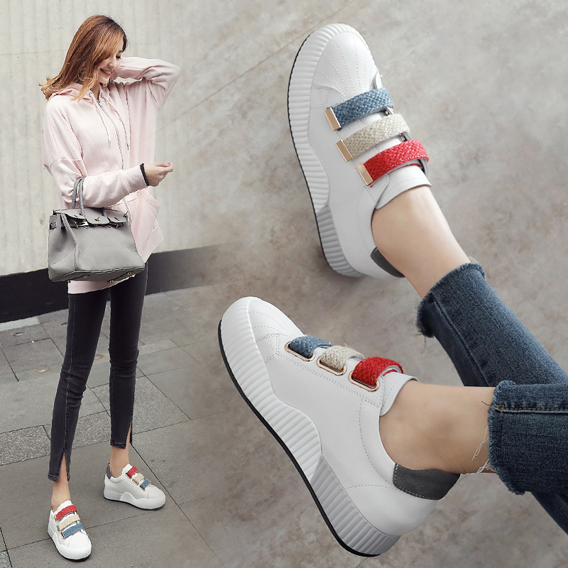 ZHR2018春季新款内增高小白鞋韩版休闲鞋平底运动鞋单鞋真皮女鞋V53