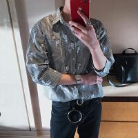 日系小清新七分袖男装衬衫时尚印花条纹青少年韩版宽松百搭衬衣男