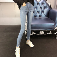 2018春季新款韩版高腰时尚钉珠修身显瘦牛仔裤女铅笔长裤女