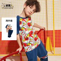 小虎宝儿童装男童套装夏装儿童短袖韩版帅气中大童夏季2020新款潮