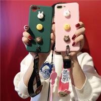 卡通熊兔苹果6s手机壳8p硅胶软壳挂绳iphone7plus套潮女款X10外壳