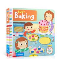 英文原版 Busy Baking繁忙的烘焙Busy Book系列游戏书启蒙1-2-3-4-5岁儿童纸板操作翻翻机关活动