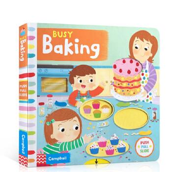 英文原版 Busy Baking繁忙的烘焙Busy Book系列游戏书启蒙1-2-3-4-5岁儿童纸板操作翻翻机关活动书学习不同的生词学习性的幼儿童书
