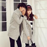 新款秋冬纯色立领羊毛呢大衣男修身情侣装中长款风衣女呢料外套潮