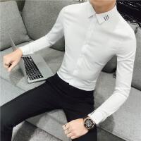 小码S码韩版修身长袖衬衫男青年帅气白衬衫绣花寸衣潮男打底衫