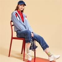 【满399减50】长袖韩版修身短外套女潮新款时尚学生显瘦纯色拉链上衣女