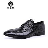米乐猴 潮牌欧美新款鳄鱼纹男鞋压花男士商务正装皮鞋英伦尖头鞋搭扣婚鞋男鞋