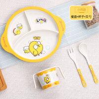 竹纤维儿童餐具吃饭辅食碗宝宝餐盘婴儿分格卡通饭碗叉子勺子套装O