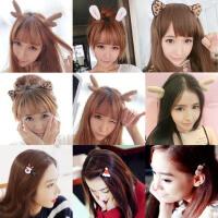 网红发卡圣诞节鹿角发箍头箍韩国头饰女帽子发夹猫兔耳朵小发饰