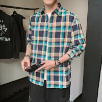 长袖衬衫格子衬衫男日系百搭修身休闲衬衣复古潮流长袖上衣衬衣