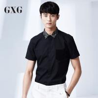 GXG衬衫男装 夏装男士时尚潮流修身休闲斯文黑色印花领短袖衬衣潮