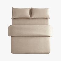 当当优品色织四件套 纯棉日式水洗磨毛床品 双人1.5米床 卡其