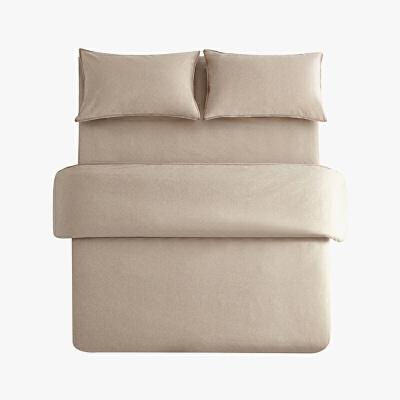 当当优品色织四件套 纯棉日式水洗磨毛床品 双人1.5米床 卡其当当自营 MUJI制造商代工