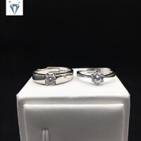 六爪款情侣对戒钻石戒指一对男女开口订结婚戒指仿真钻送女友刻字