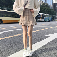 2018春装韩版学院风甜美显瘦荷叶边格子半身裙学生包臀裙百搭短裙