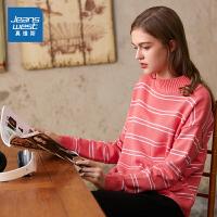 [秒杀价:47.9元,新年不打烊,仅限1.22-31]真维斯女装 2019冬季新款 休闲半高领提间宽松型长袖毛线衫