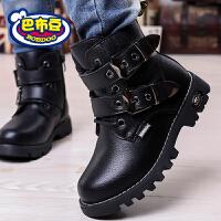 巴布豆童鞋 男童马丁靴2016秋冬儿童短靴童靴加绒单靴潮男童靴子