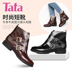 【百丽集团夏季大促,5.28准时开抢】Tata/他她牛皮女皮靴3U402DD6