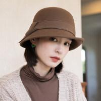 冬英伦礼帽秋冬盆帽渔夫帽女士冬天韩版潮时尚毡帽羊毛呢帽
