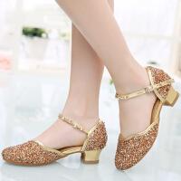 水晶演出女童跳舞凉鞋少儿软底夏季拉丁舞鞋儿童小女孩舞蹈鞋低跟