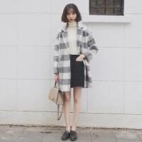 韩版冬装2018新款女学生风衣大衣格子中长款长袖加厚保暖毛呢外套