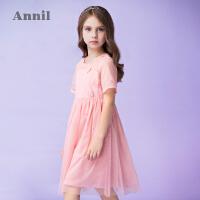 【2件35折:189】安奈儿童装女童连衣裙夏新款洋气网纱礼裙中大童蕾丝公主裙子