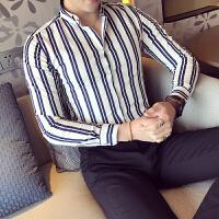 新款条纹男衬衣长袖秋装原创潮款打底衬衫青少年时尚休闲英伦寸衫