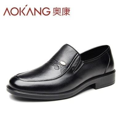 奥康男鞋 春季皮鞋男真皮头层牛皮商务正装大码男士套脚爸爸鞋
