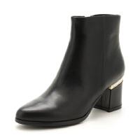 【大牌日3折】ST&SAT/星期六冬短靴女羊反绒尖头粗高跟女靴SS74118499