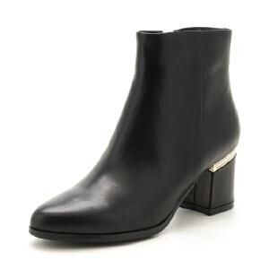 ST&SAT/星期六冬短靴女羊反绒尖头粗高跟女靴SS74118499