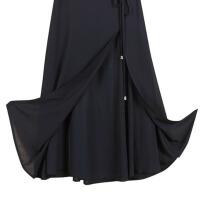 雪纺半身长裙夏季开叉高腰a字裙大码显瘦黑色半身裙女长裙大摆裙