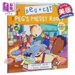 【中商原版】佩格和小猫4 乱糟糟的房间 英文原版 Peg's Messy Room (Peg + Cat) 儿童绘本