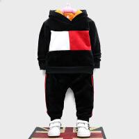 男童秋冬套装宝宝秋季绒卫衣两件套儿童双面绒套装婴幼儿衣服