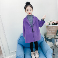 女童毛呢外套秋冬2018新款�和�中大童中�L款�n版洋�怆p面呢子大衣 浪漫紫