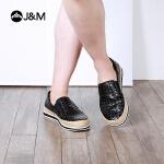 jm快乐玛丽春季新款平底套脚网格麻底休闲帆布鞋男鞋子