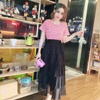 夏装新款时尚学生短袖条纹T恤+高腰蛋糕裙半身裙长裙套装