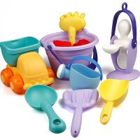 软胶沙滩玩具套装儿童洗澡玩具小孩戏水挖沙子宝宝铲子沙漏工具 主图款14件套 颜色随机